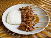 Grill pork and sticky rice — Foto Stock