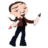 Creative young man with markers in hand to explain something — Stock Vector