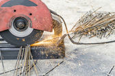 Close up cutting steel — Stock Photo