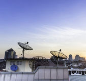 Satellite dish sky sunset — Stock Photo