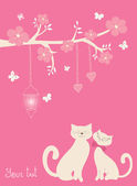 Cute vector illustration in pink tones — Stock Vector