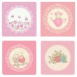 Set of cute pink vector cards — Stock Vector