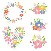 Collection of color vector floral compositions. — Stock Vector