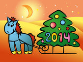 Horse and Christmas tree — Stock Vector
