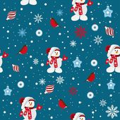 Seamless background of snowmen — Stock Vector