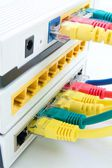 Switch router and cables — Stock Photo