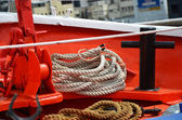Ropes and rope on a cruise ship — Foto Stock