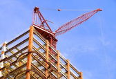 The steel of construction site and crane — Stock Photo
