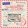 Valentines Stamps Background — Stock Vector