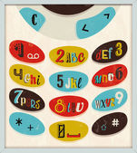 Phone number with alphabet kayboard — Vector de stock