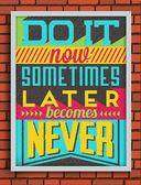 Affiche rétro vintage citation de motivation — Vecteur