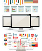 Elements for your documents and reports with three touchscreen devices — Stock Vector