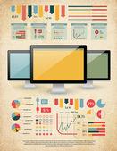 Elementos para seus documentos e relatórios com três dispositivos touchscreen — Vetor de Stock