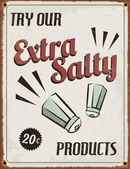 Retro Vintage Extra Salty Tin — Stock Vector
