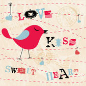 Valentines Card with Birds — Stock Vector
