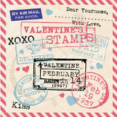 Valentines Stamps Background — Stok Vektör