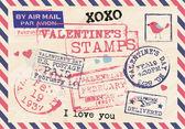 Valentines Stamps Background — 图库矢量图片