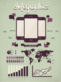 为您的文件和报告,三个光滑的触摸屏手机设备信息图表元素 — 图库矢量图片