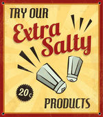 Extra Salty Tin Sign with Grunge Effect — Stock Vector