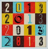 Renkli retro vintage 2013 yeni yıl poster — Stok Vektör
