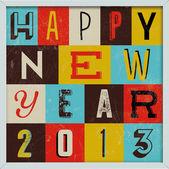 Bunte retro vintage 2013 neujahrs poster — Stockvektor