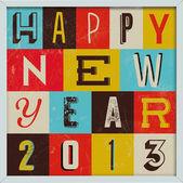 Färgglada retro vintage 2013 nyår affisch — Stockvektor