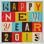 Pôster de ano novo colorido retro vintage 2013 — Vetorial Stock