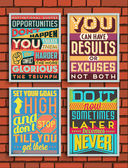 Set of Retro Vintage Motivational Quotes — Stock Vector