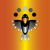 Crow on orange background — Stock Vector