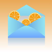 Orange slices in an envelope — Stock Vector
