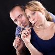 couple vaping — Stock Photo