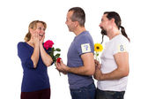 Female with admirers — Stock Photo