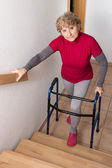 Retiree with walker — Stock Photo