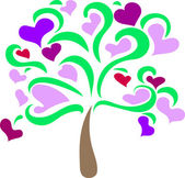 Hearts on the tree — Vector de stock