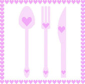 Spoon, fork and knife illustrations with hearts — ストックベクタ