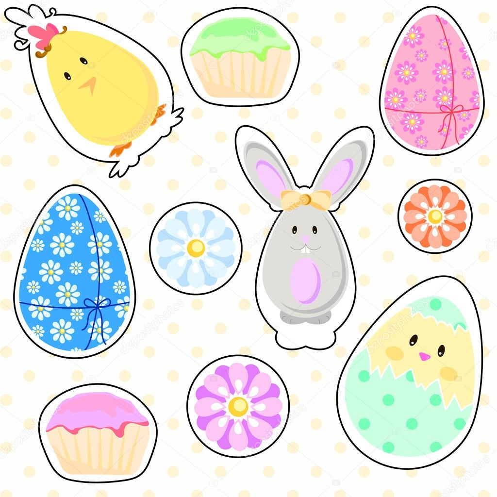 Easter stickers — Stock Vector © lusy88 #44160261