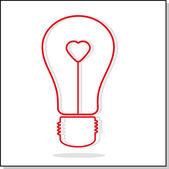 Illustration of light bulb with heart — Stok Vektör