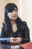 Keiko Matsui gives interview before her performance in Minsk on March 27, 2013 — Stockfoto