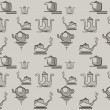 Seamless pattern of four stylized silhouettes of teapots — Stock Vector