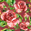 Stock Photo: Red rose seamless pattern