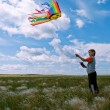 Stock Photo: Boy flies kite