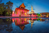 Ancient Pagoda in Wat Mahathat temple, night scene — Stock Photo