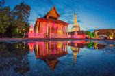 Ancient Pagoda in Wat Mahathat temple, night scene — Stock Photo