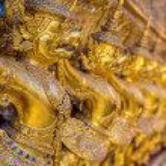 Garuda , golden big birds around balcony of central sanctuary in a Thai temple — Stock Photo #48287077