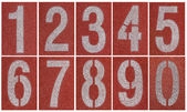 Collection of 0 to 9 ,Numbers on red running track — Photo
