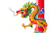 Chinese style dragon statue isolated on white background — Stock Photo