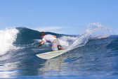 Surfer on wave — Stock Photo