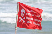 Red Flag with No Swimming Sign .  — Stock Photo