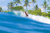 Surfing a Wave. Bali Island. Indonesia. — Stock Photo