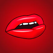 LIps on the red background — Stock Vector